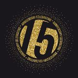 Fifteen years anniversary celebration golden logotype. 15th anniversary gold logo. Vector stock illustration
