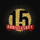 Fifteen years anniversary celebration logotype. 15th anniversary logo. Vector illustration Stock Photos