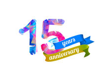 15 fifteen years anniversary. Vector triangular digits royalty free illustration