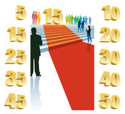 Fifteenth anniversary. Colorful crowd of businesspeople celebrating fifteenth anniversary Stock Image