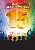 Fifteenth anniversary. Colorful crowd of cheering people celebrating fifteenth anniversary Royalty Free Stock Photography