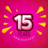 Fifteenth Anniversary with Pink Background Greeting Card. Anniversary Greeting Card Template Design with pink bokeh effect background and yellow geometric Royalty Free Stock Photo