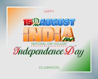 Fifteenth August, Celebration of Independence day in India. Holiday design, background with handwriting and 3d texts, national flag colors for fifteenth of stock illustration