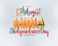 Fifteenth August, Celebration of Independence day in India. Holiday design, background with handwriting and 3d texts, national flag colors for fifteenth of royalty free illustration