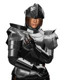 Fifteenth Century Medieval Knight Portrait. Portrait of a Fifteenth Century late Medieval Knight in Northern Italian Milanese Armour with open visor, 3d Stock Photo