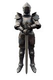 Fifteenth Century Medieval Knight with Sword. Fifteenth Century late Medieval Knight in Northern Italian Milanese Armour with sword, 3d digitally rendered Stock Photos