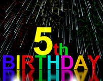 Fifth Or 5th Birthday Celebrated With Fireworks. Display Royalty Free Stock Photography