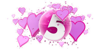 Fifth anniversary. Background in pink colors with hearts and spheres and the number five Stock Photo