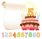 Fifth anniversary. Colorful birthday cake over sheet of paper Royalty Free Stock Images