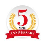 Fifth anniversary badge label. Vector Royalty Free Stock Photos