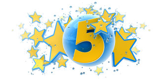 Fifth anniversary blue and yellow. Background in blue and yellow colors with stars drops and spheres and the number five Stock Photo