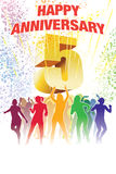 Fifth anniversary. Colorful crowd of dancing people celebrating fifth anniversary Royalty Free Stock Photo