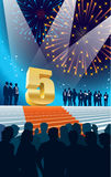Fifth anniversary. Crowd of businesspeople celebrating fifth anniversary, fireworks in the background Stock Images