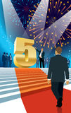 Fifth anniversary. Crowd of businesspeople celebrating fifth anniversary, fireworks in the background Royalty Free Stock Photography