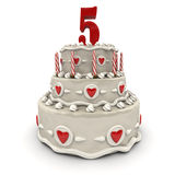 Fifth anniversary. 3D rendering of a multi-tiered cake with a number five on top Royalty Free Stock Photos