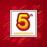 Fifth Anniversary with Red Geometric Background Poster. Fifth Anniversary Greeting Card Template Design with red gradation geometric background Royalty Free Stock Photo