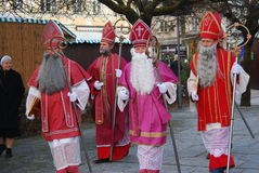 Fifth annual St. Nicholas Pilgrimage. Men dressed as St. Nicholas start arriving at the Kapellenplatz Square in Altöttin, Germany for their fifth annual Stock Photo
