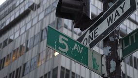 Fifth Ave street sign. A shot of the world famous Fifth Ave street sign in Manhattan stock video