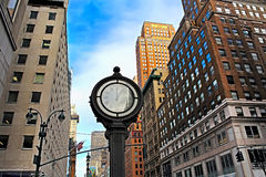 Fifth Avenue building in New York City and big clock. The Fifth Avenue building in New York City and big clock, USA Stock Image