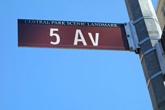 Fifth Avenue Sign. A street sign for Fifth Avenue, in New York, that also reads Central Park Scenic Landmark Stock Image