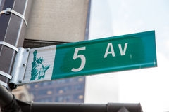 Fifth Avenue street sign Stock Image