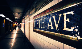 Fifth Avenue Subway Station. Mosaic sign at subway station in Manhattan royalty free stock images