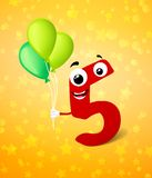 Fifth birthday greeting card Stock Photography