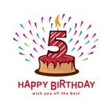 Fifth birthday illustration Royalty Free Stock Photo