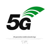 Fifth gen. New 5th generation mobile network logotype. vector 5G icon  on white background. high speed connection wireless systems sign. telecommunications Royalty Free Stock Images