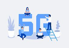 Fifth generation wireless 5g concept. People with mobile devices are sitting and standing on and around the big letters 5G. Flat style. Vector illustration stock illustration