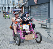 Fifth Gocarts race in historical center of Halle, Belgium Royalty Free Stock Image