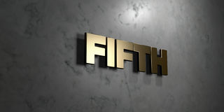 Fifth - Gold sign mounted on glossy marble wall  - 3D rendered royalty free stock illustration. This image can be used for an online website banner ad or a Royalty Free Stock Photography