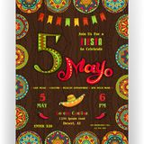 Fifth Mayo fiesta announcing poster template. Text customized for invitation for party. Ornate lettering and Mexican sombrero. Rich ornamented border and Stock Photo