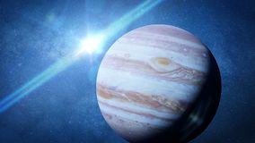 Planet Jupiter the Sun and the stars. The fifth planet from the Sun, the largest in the Solar System Royalty Free Stock Photos