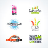 Fifth set of dj music reggae bass karaoke. Fifth set of dj music equalizer logo vector Stock Images
