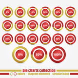 Fifth set. New collection of circular icons with percentage pie charts can use like web design elements Stock Photography