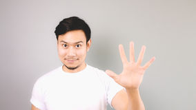 Fifth step hand sign. Stock Photo
