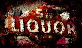 Fifth Street Liquor Neon Sign Grunge Royalty Free Stock Images