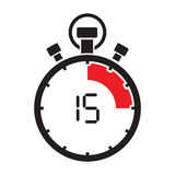 Fifth teen minute stop watch countdown. A fifth teen minute stop watch countdown Royalty Free Stock Images