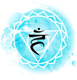 Fifth Throat chakra visuddha on light blue watercolor background. Yoga icon, healthy lifestyle concept. Vector illustration Stock Images