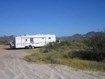 Fifth wheel traveling trailer Stock Photo