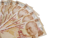 Fifthy turkish liras banknotes. On the isolated white backgrounds Royalty Free Stock Image