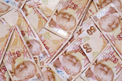Fifthy turkish liras banknotes. On the isolated white backgrounds Stock Image