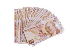 Fifthy turkish liras banknotes. On the isolated white backgrounds Royalty Free Stock Photos