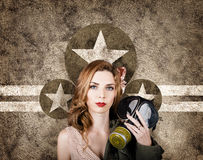 Fifties army pin up woman. Remembrance day Royalty Free Stock Photos