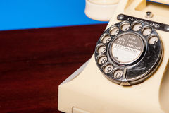 Fifties British vintage ivory telephone - dial detail Stock Photos
