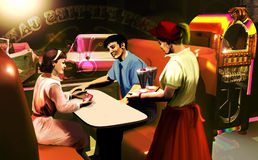 Fifties cafe scene. Interior of a fifties cafe Stock Photos