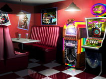 Fifties cafe and slot machine Stock Image