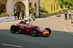 Fifties Formula 2 car at Bergamo Historic Grand Prix 2017. A Fifties Formula 2 car driving down the hairpin at the end of Boccola street in Citta` Alta the Stock Images