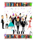 Fifties fun. Large group of retro characters having a celebration with hats and drinks Royalty Free Stock Photos